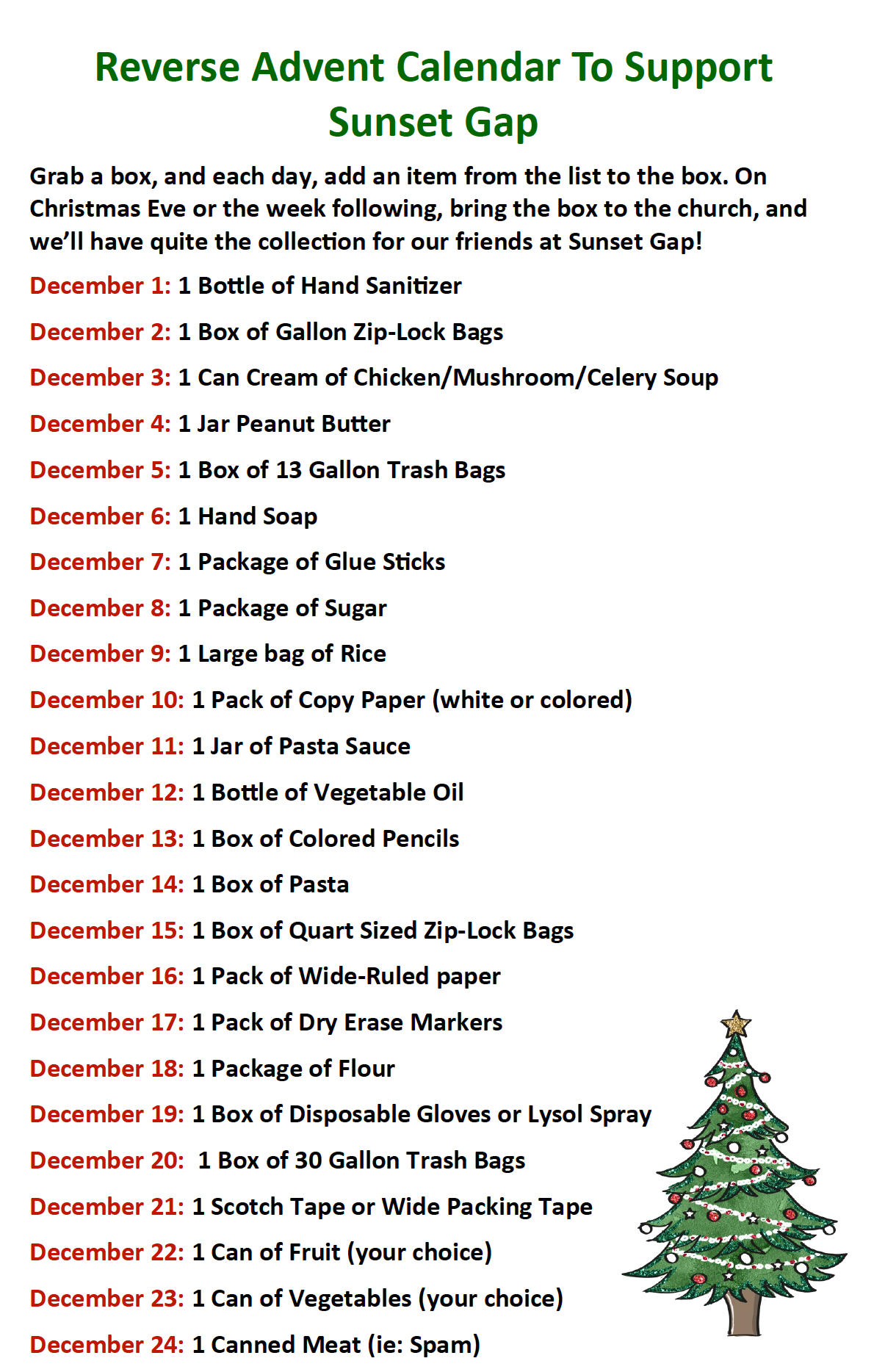 2020 Reverse Advent Calendar